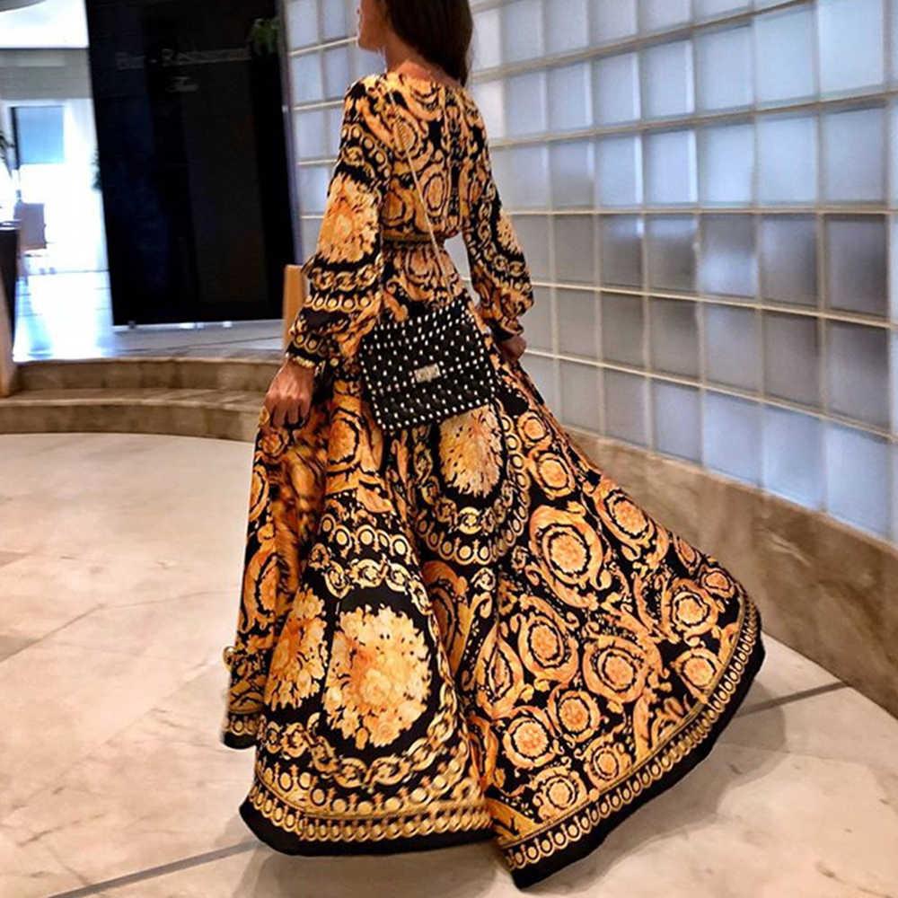 Модное женское сексуальное элегантное платье с глубоким v-образным вырезом с пышными рукавами с цветочным принтом и высокой талией, экзотическое длинное платье для женщин 2019