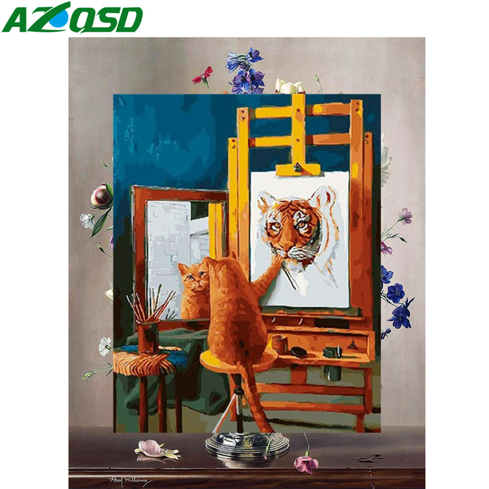 AZQSD Oil Painting By Numbers Animal DIY Unframe Decor For Home Acrylic Paint Coloring By Numbers Tiger Handpainted Gift