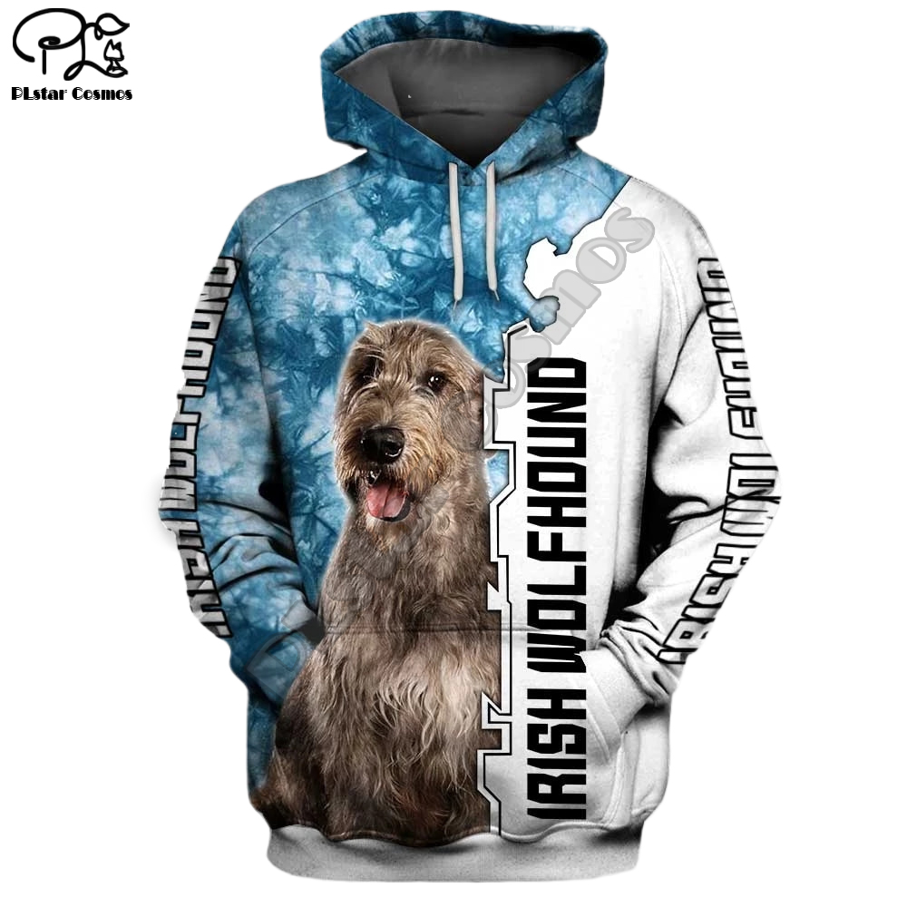 New Mens Funny Irish Wolfhound Dog 3d Print Hoodies Autumn Long Sleeve Sweatshirts Women Pullover Tracksuit Hoody Spring Outwear