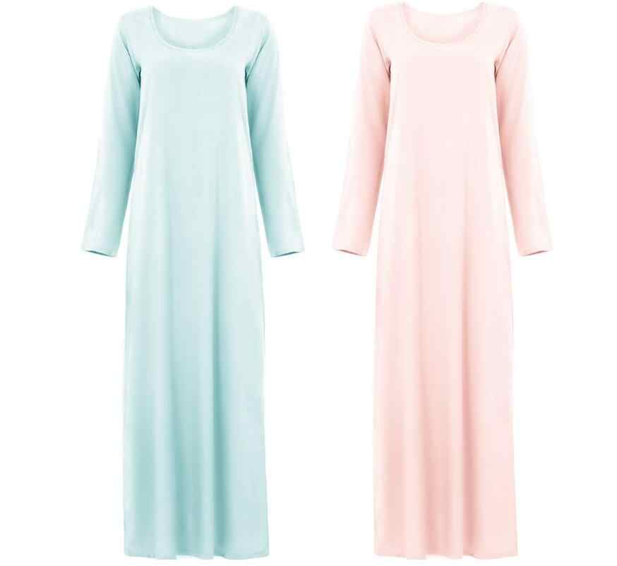 Мусульманское женское платье базовое белое абайя Омани с длинными рукавами Молитвенное платье внутренняя Abay 95% хлопок сплошной цвет Jellaba Marocaine классический