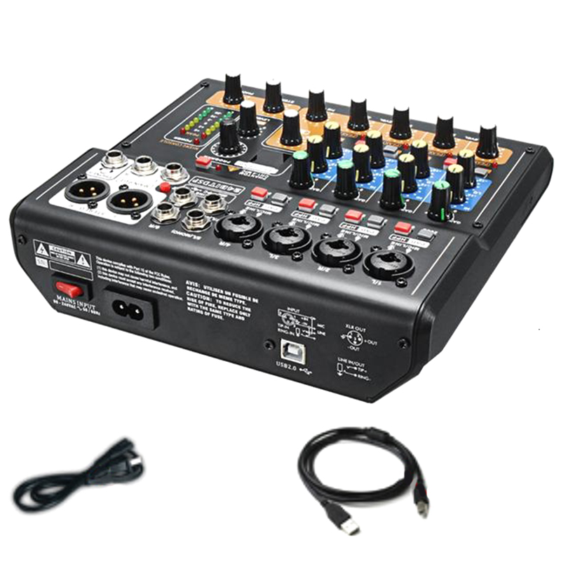 Professional 8 Channels Audio Mixing Console <font><b>Mini</b></font> USB Digital DJ Mixer with PAD Switches <font><b>DSP</b></font> Effect for Karaoke PC Meeting(US Pl image