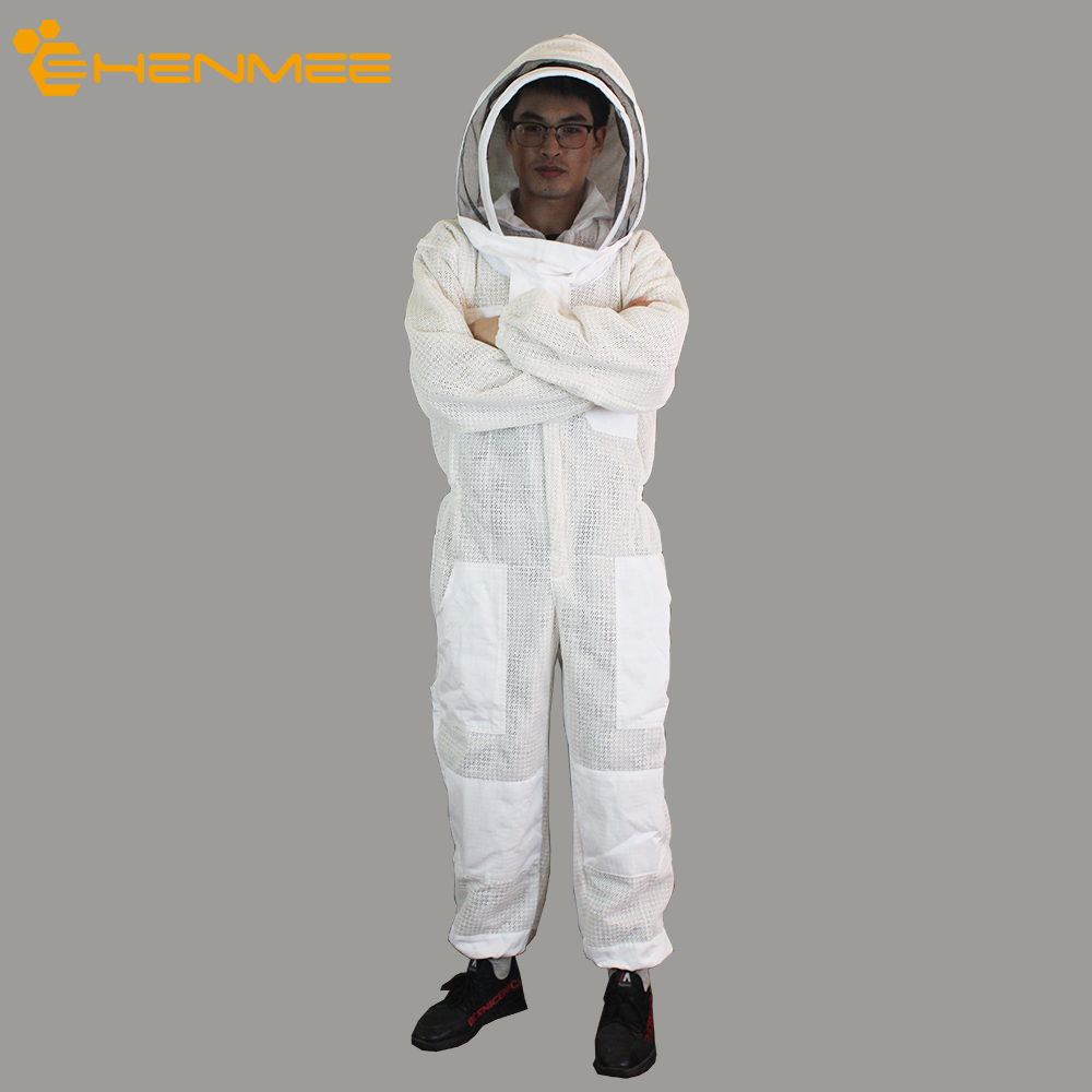 Free Shipping Beekeeping Suit 100% Cotton Beekeeping Protective Clothing 360 Degree Breathable Beekeeping Suit Protection