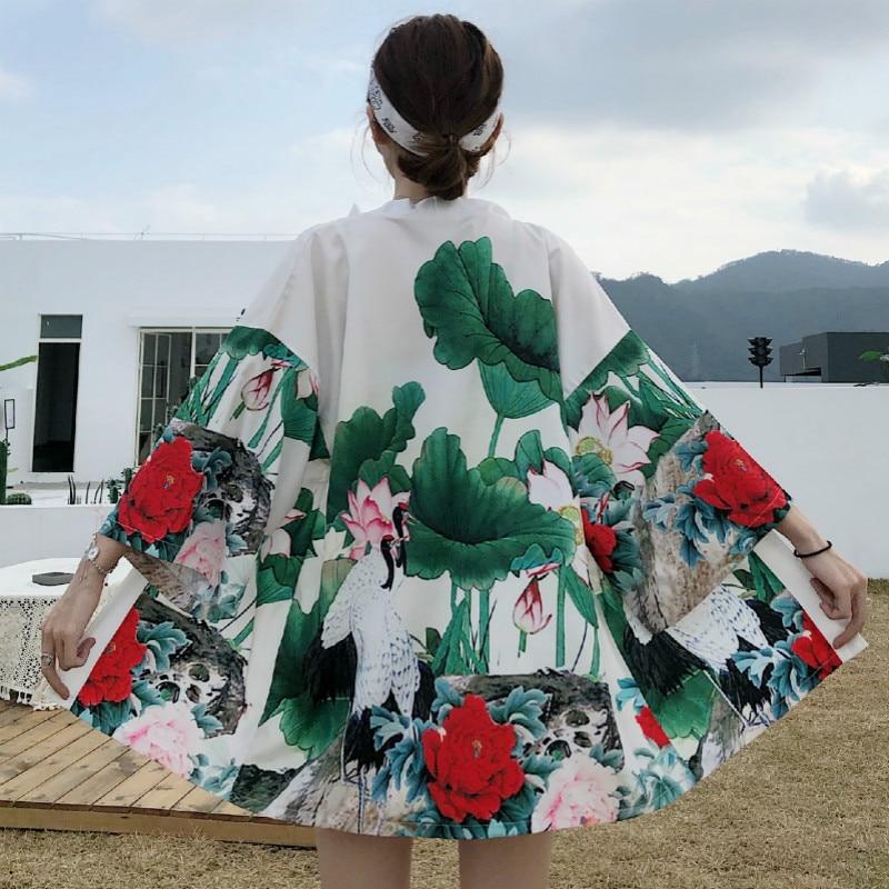 Summer New Japanese Style Kimono Streetwear Sun Clothes Loose Shirt Kimono Traditional Jacket Women Yukata Cardigan Haori Obi