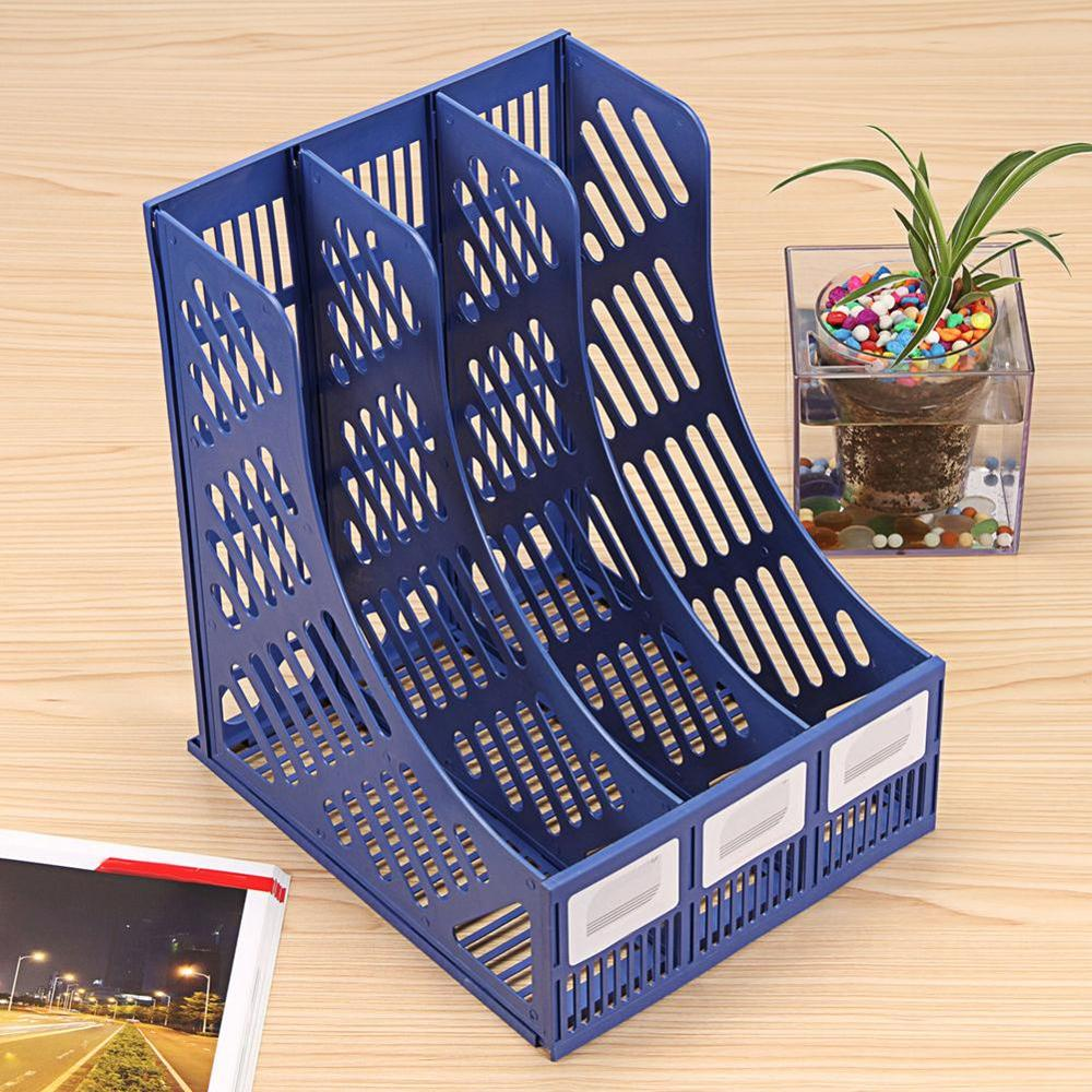2019 New 3 Sections Magazine File Stand Holder Home Office Document Storage Desk Organizer