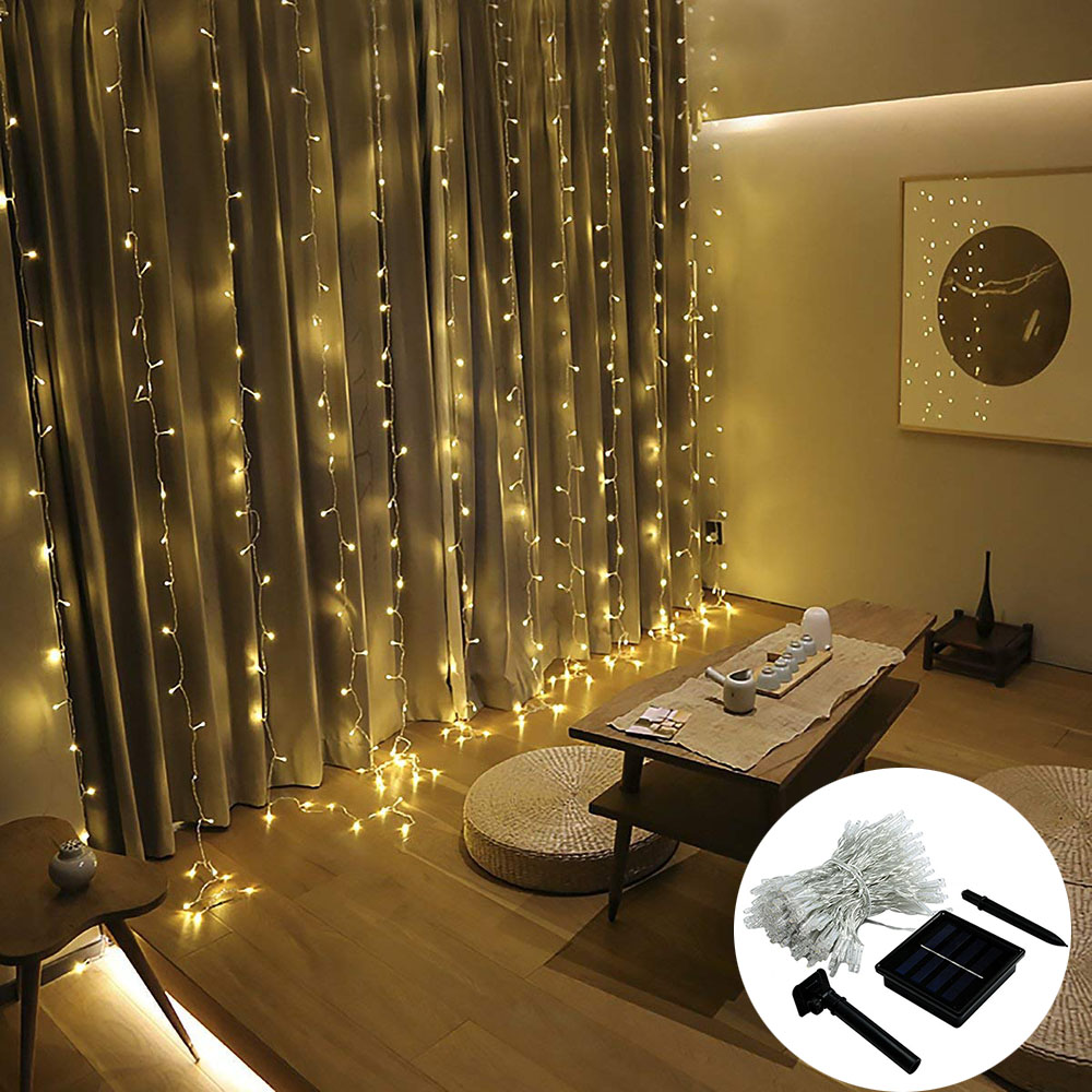Solar Powered Led Icicle Curtain String Lights 8 Modes 3x2/3x3m Waterproof Christmas Garland Lights For Wedding Party Garden