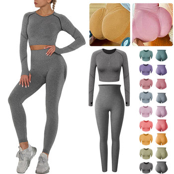 Women Fitness Gyms Leggings Seamless 2 Piece Set Workout Outfit High Waist Anti Cellulite Legging Crop Tops Push Up Warm pants 1