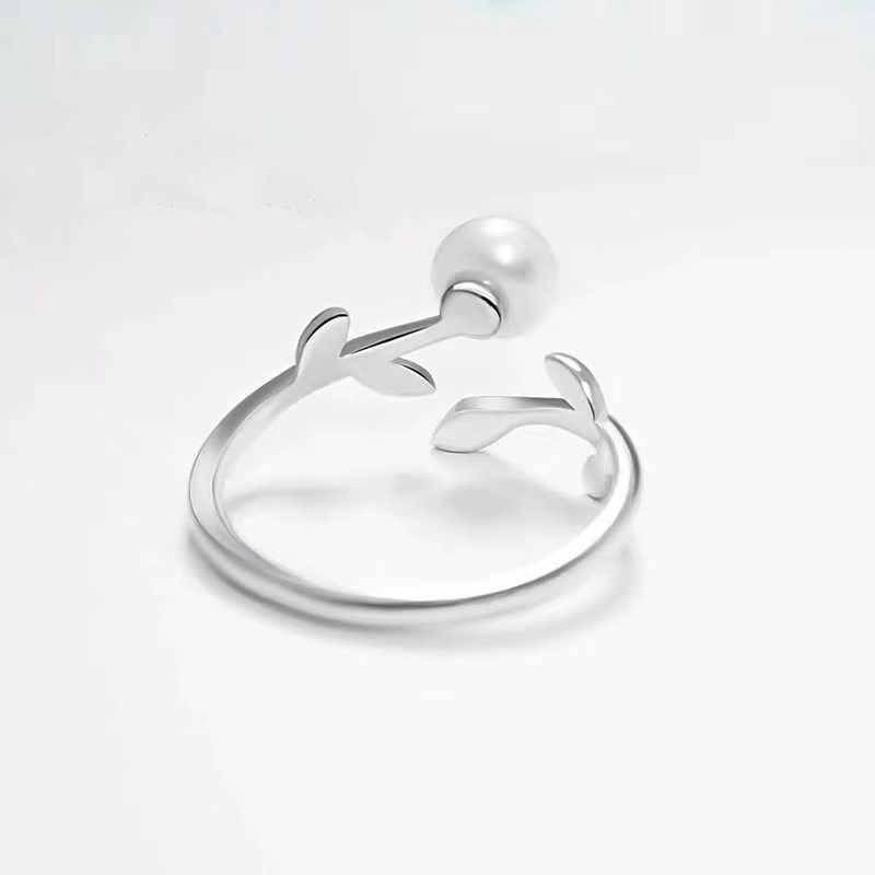 925 anillo de perlas de marca astilla para mujer, Perla de hoja, brillante Cirle Bizuteria, joyería de plata, anillo de topacio, anillo de boda