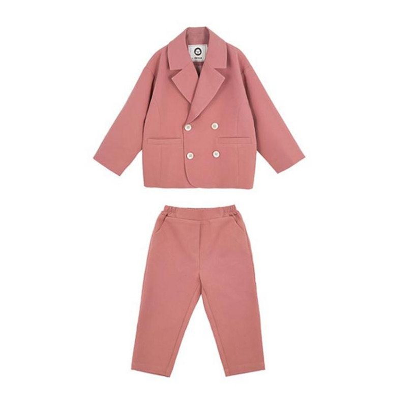 New Spring Girls Clothing Sets 2019 High Quality Soild Double-breasted Blazer Coat+Pant 2pc Party Suit Toddler Outfits 2-7Yrs