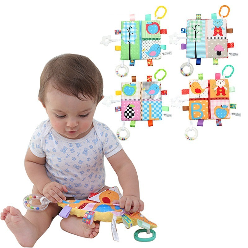 Multi-purpose Label Soothing Towel With Ringing Paper Tooth Tape Ringing Ring  Comforting Supplies   For Baby Toys 0 12 Months