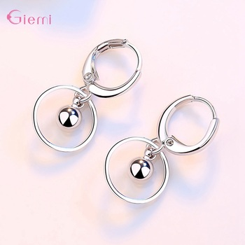 New Fashion 925 Sterling Silver Water droplet Earring for Women Girl Circle Dangle Earrings Jewelry Brincos Gift 2
