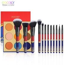 Docolor 12 pçs pincéis de maquiagem profissional cosméticos pó fundação sombra de olho conjunto escova e 9 cor sombra de olho nu paleta kit