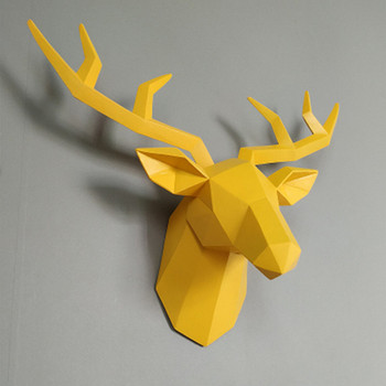 Home Decoration 57x42cm Vintage Antelope Head Abstract Sculpture Room Wall Decor Imitation leather Deer Head Statues A556