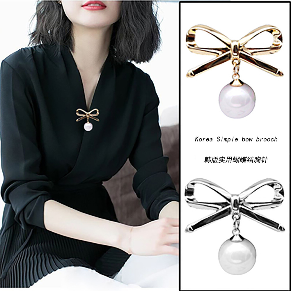 2009 New Creative, Practical And Light-proof Pearl Brooch Cross-border Korean Version Fashion Pin With Butterfly Knot