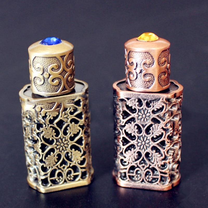 Retro Metal Perfume Bottle Arabian Style Essential Oil Bottle Container Royal Glass Bottle Wedding Party Decoration 3ml
