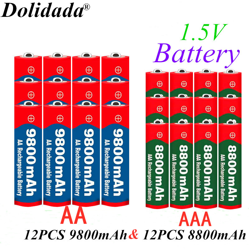 100% New 1.5V AAA 8800mAh battery + 1.5V AA 9800mAh Alkaline Rechargeable battery aa&aaa for led light toy mp3 free shipping image