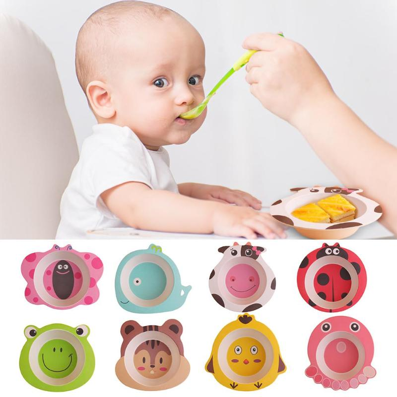 Colored Cartoon Animal Dishes Baby Bamboo Fiber Bowls Cute Baby Feeding Tableware Children Toddler Kids Natural Portable Plates