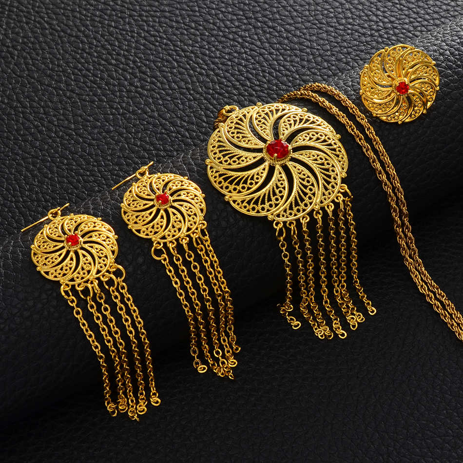 Anniyo Äthiopischen Anhänger Halskette Ohrringe Ring Öffnende für Frauen Dubai Schmuck sets Afrikanischen Hochzeit Geschenke Schmuck #069506