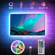 Rétro-éclairage TV USB, bande lumineuse RGB5050 LED pour TV 15 - 80 pouces, miroir, PC