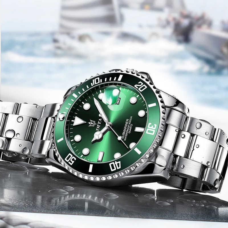 쿼츠 시계 남성 DITAWATCH 탑 브랜드 럭셔리 2020 그린 방수 시계 남성 스포츠 날짜 손목 시계 블랙 Relogio Masculino