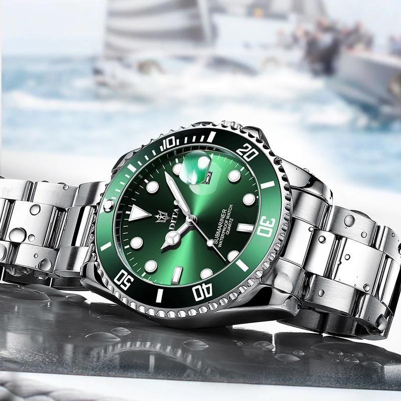Quartz Watch Men DITAWATCH Top Brand Luxury 2020 Green Waterproof Watches Mens Sports Date Wristwatches Black Relogio Masculino