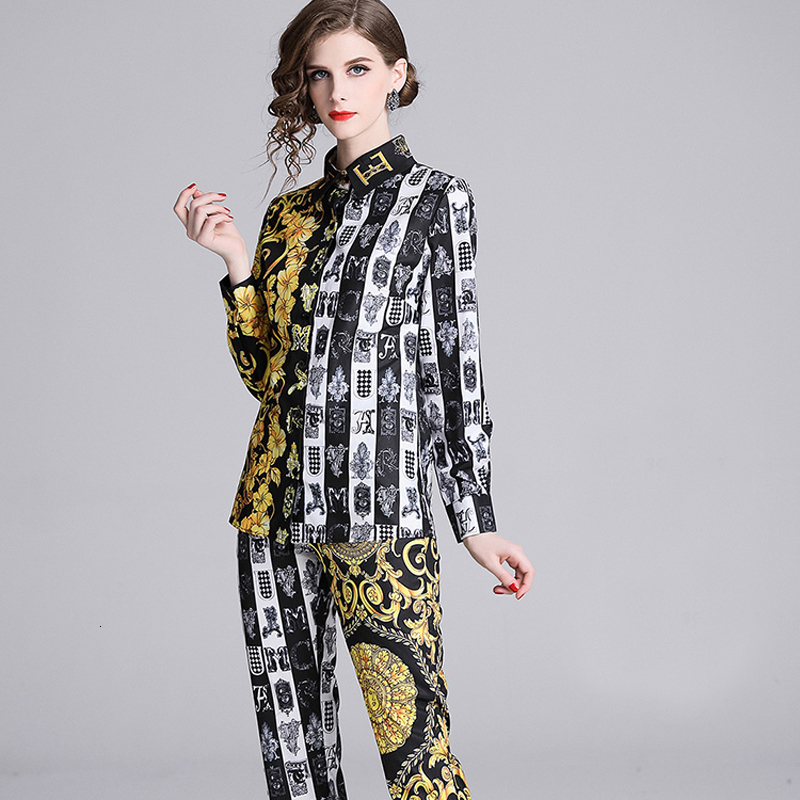 Brand Clothes For Women Fashion Print 2 Piece Set Casual Lapel Long-sleeved Shirt+Baroque Nine-point Pants Fall Winter Outfits
