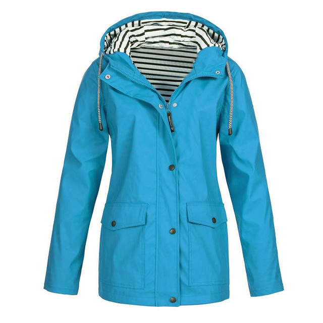 Women Jackets Solid Rain Outdoor Plus SizeWaterproof Hooded Raincoat Windproof Causal winter ladies Womens Fashion Blouse Tops