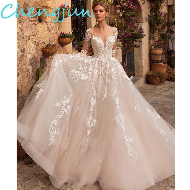 Chengjun 2020 Thiết Kế Mới Cọ Bầu Phối Ren Tay Dài Váy Cưới
