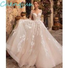 Chengjun 2020 novo design scoop bola vestido de renda manga longa vestido de casamento