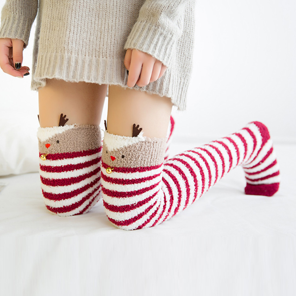 Girls Womens Panda With Santa Claus Hat Over Knee Thigh High Stockings Cute Socks One Size