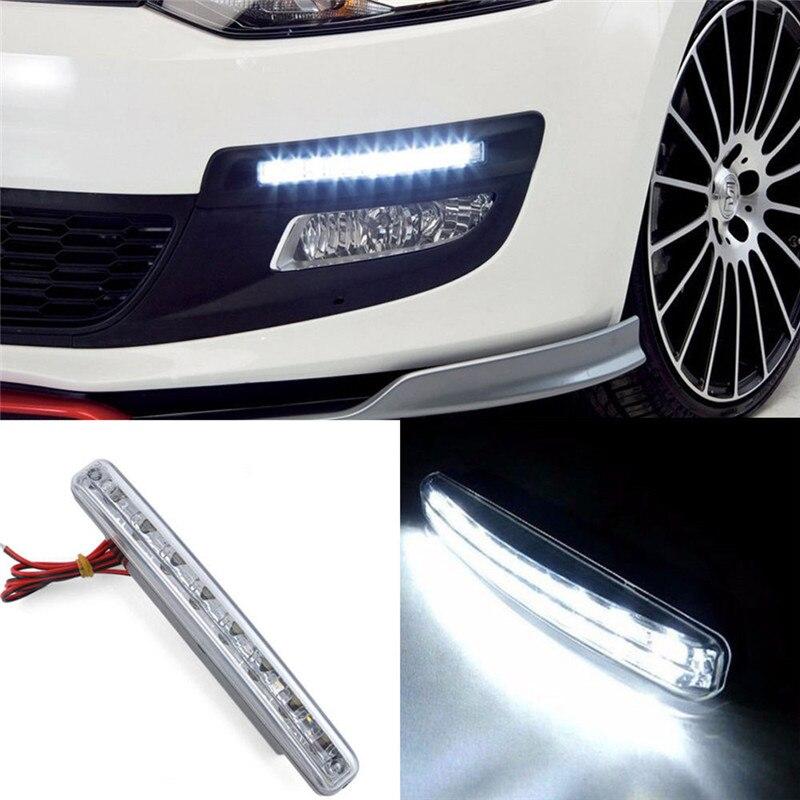 8 LED lamba gündüz çalışan işık araba DRL sis sürüş günışığı başkanı drl lambaları otomatik navigasyon ışıkları sinyal