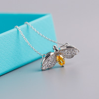 TSHOU244 new Firefly necklace s925 silver necklace pendant yellow zircon