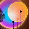 Закат светильник светодиодный светильник проектор ночной Светильник Радуга Арт Декор стены проекционной лампы USB красный закат атмосфера ...