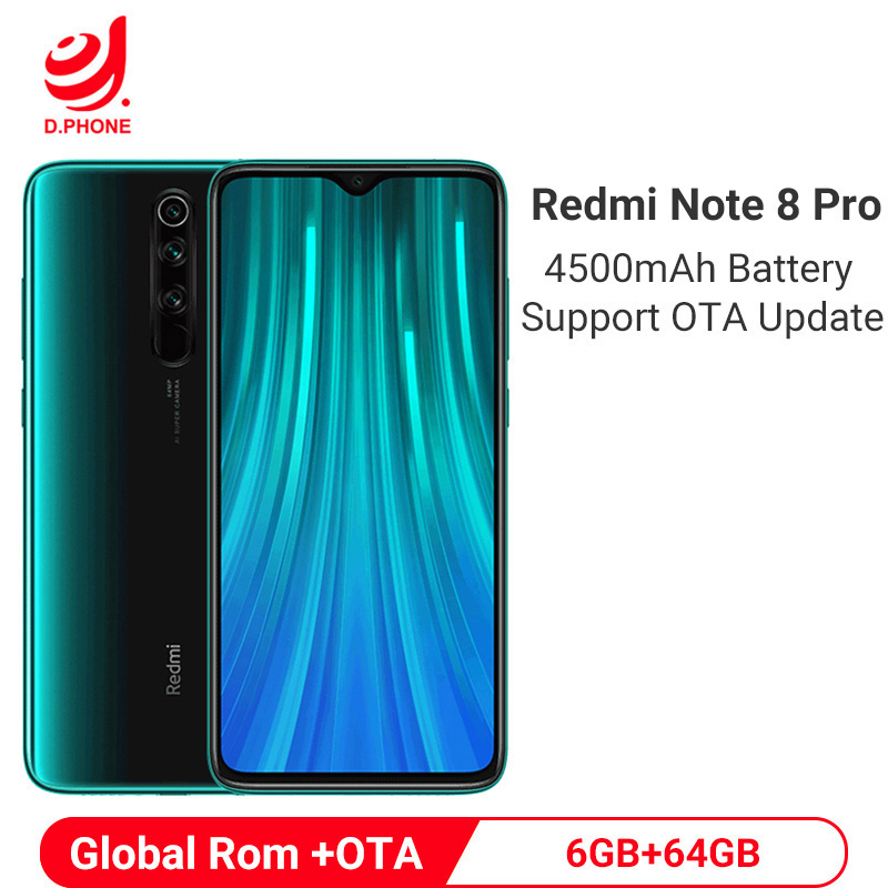 Global ROM Xiaomi Redmi Note 8 Pro 6GB 64GB Smartphone 64MP Quad Rear Camera Mobile Phone MTK Helio G90T Octa Core 4500mAh