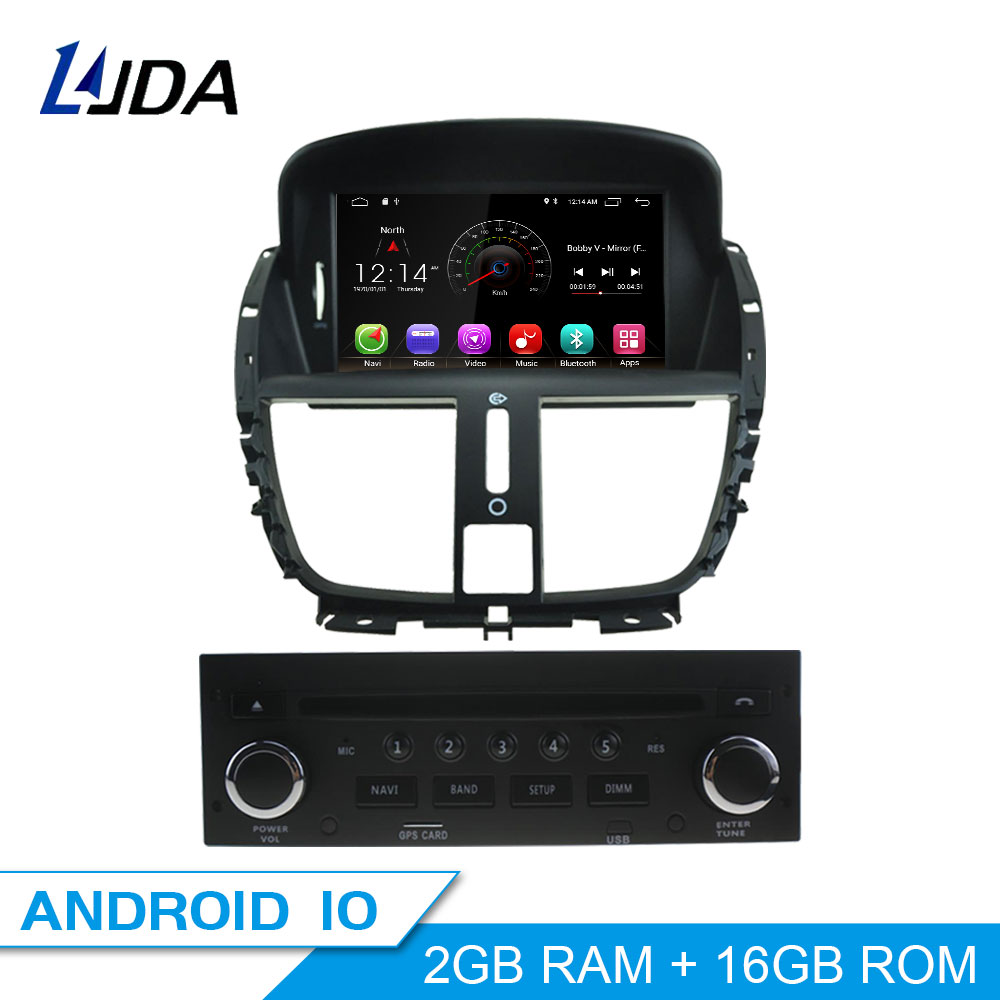 LJDA Android 10 1 Din Car Radio For Peugeot 207 2007-2011 2012 2013 2014 Car Multimedia Player Stereo GPS Navigation DVD IPS SD image