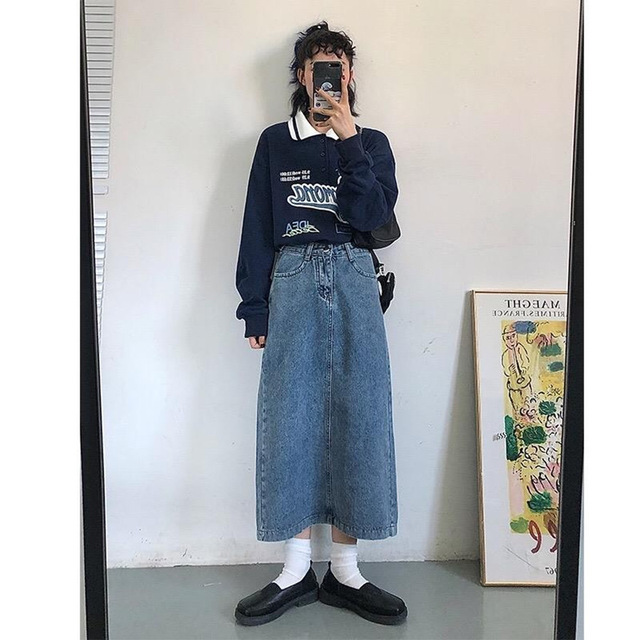 Vintage Polo Collar Oversized Hoodies Women Korean Trendy 2021 Autumn Letter Print Sweatshirt Loose Harajuku Top Long Sleeve 6