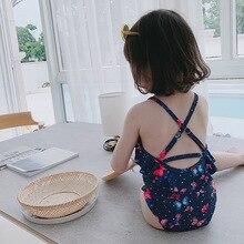 Korean Children Swimwear 2pcs Swimsuit Girls Kids Swimming Hat One-Piece Butterfly Princess Bath Suit Swim Beach Wear