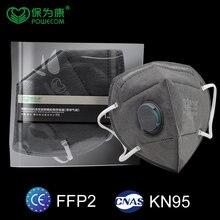 Powecom – masque facial ffp2mask KN95 au charbon actif, filtre respirant, anti-poussière