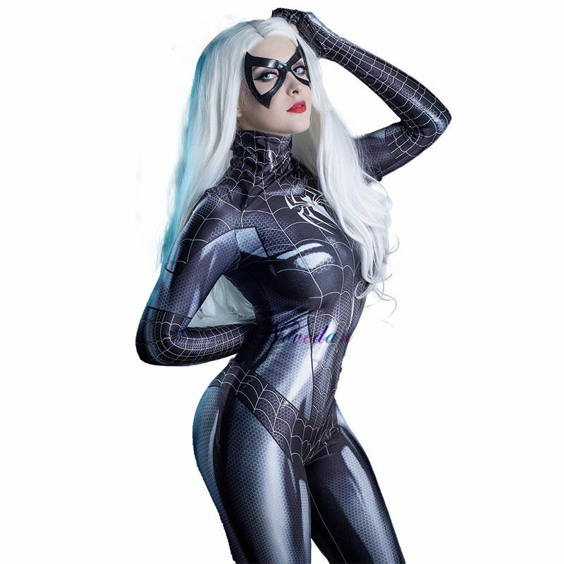 Sexy Black Cat Symbiote Mary Jane Cosplay Costume Halloween Carnival Party Female MJ Superhero Costume For Women