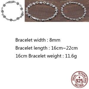 C40 S925 srebro bransoletka para osobowość retro punk hip-styl hiphopowy sześcioramienna gwiazda prosty kształt prezent urodzinowy