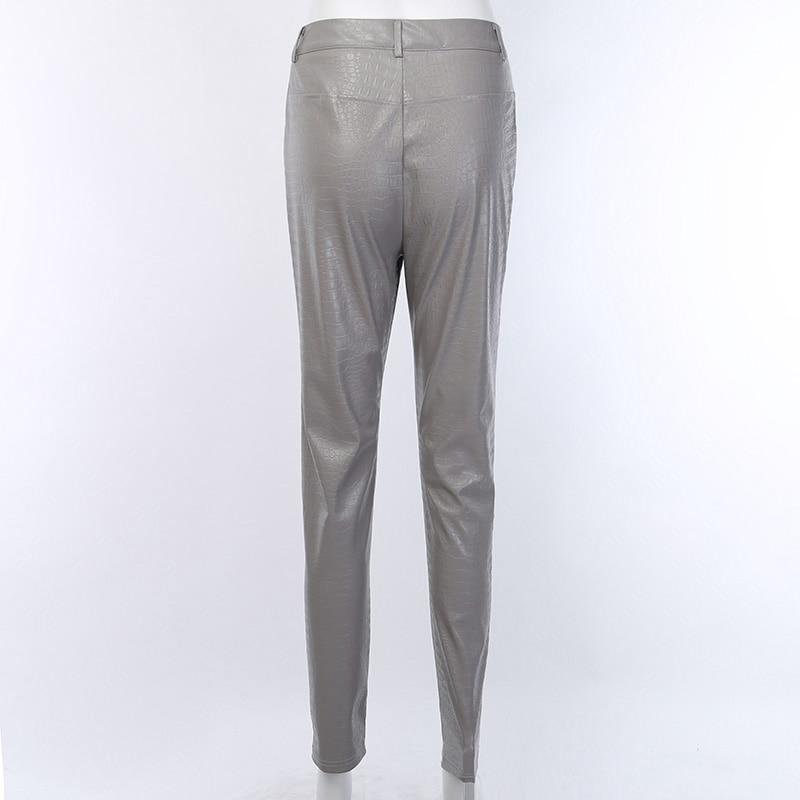 InstaHot Black High Waist Pencil Faux Leather Pants Women Casual Elegant Carving Print Ankle Length Pants Streetwear Trousers 57