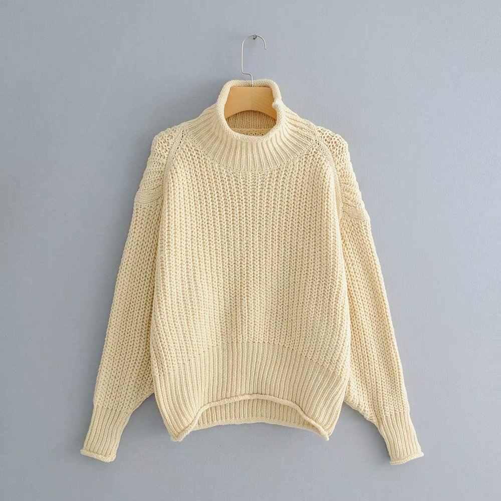 가을 패션 여성 4 색 오버 사이즈 스웨터 세련된 하프 터틀넥 니트 여성 루스 풀오버 캐주얼 스트리트웨어