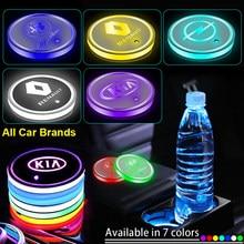 1 pièces de Tasse de Voiture de Led Badge Lumières Lumineux Coaster Porte-boissons Pour Mitsubishi ASX Lancer Pajero L'outlander L200 EVO Lancer Pajero