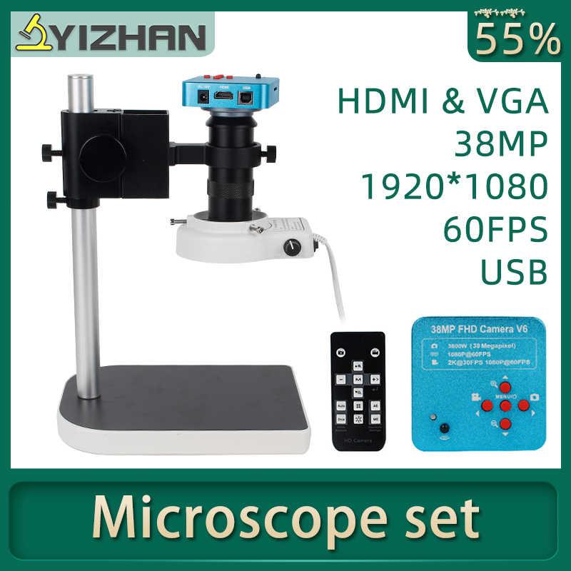 1080P HDMI VGA مجهر رقمي لحام الإلكترونية 130X 38MP مجهر كاميرا USB LED مصباح مصمم على شكل حلقة إصلاح المهنية