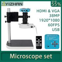 Microscopio digital 1080P HDMI VGA para soldadura electrónica, cámara de microscopio 130X 38MP, Anillo de luz LED USB, reparación profesional