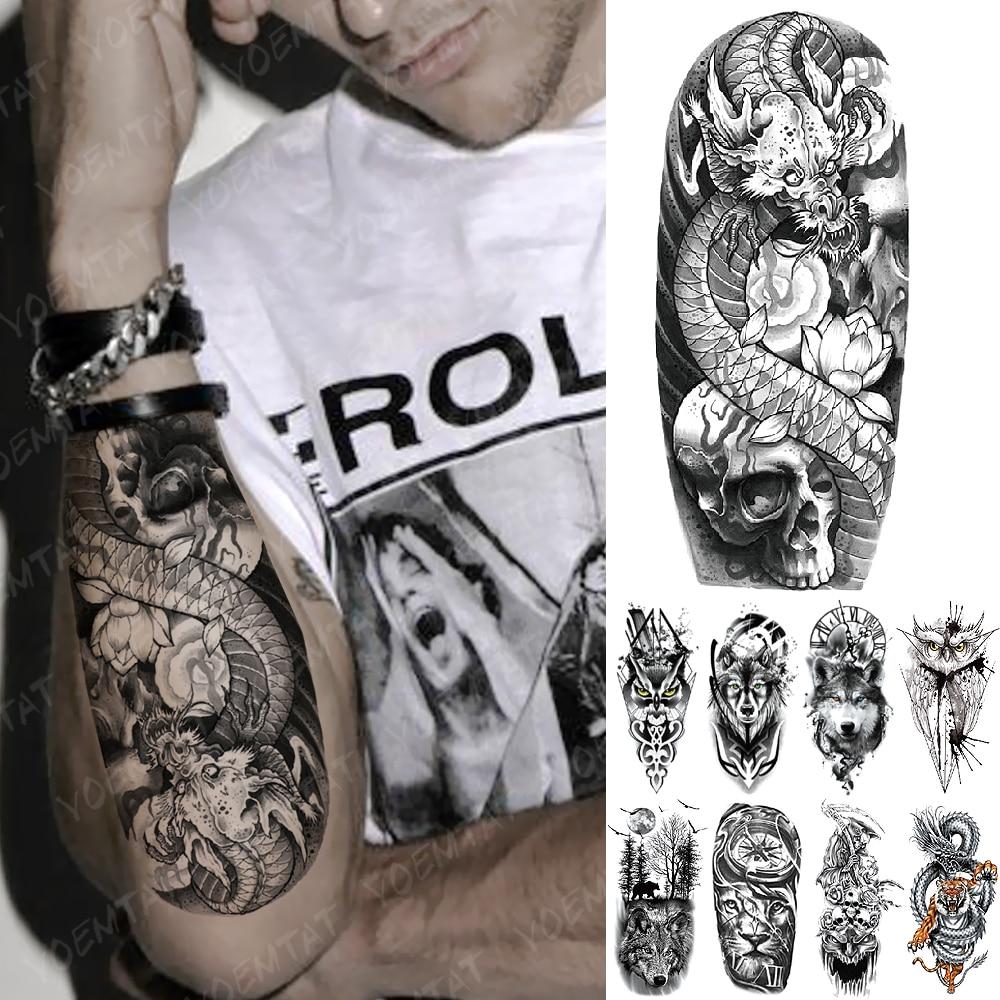 Waterproof Temporary Tattoo Sticker Japanese Skull Dragon Flash Tatto Lotus Tiger Lion Body Art Arm Fake Tatoo Women Men