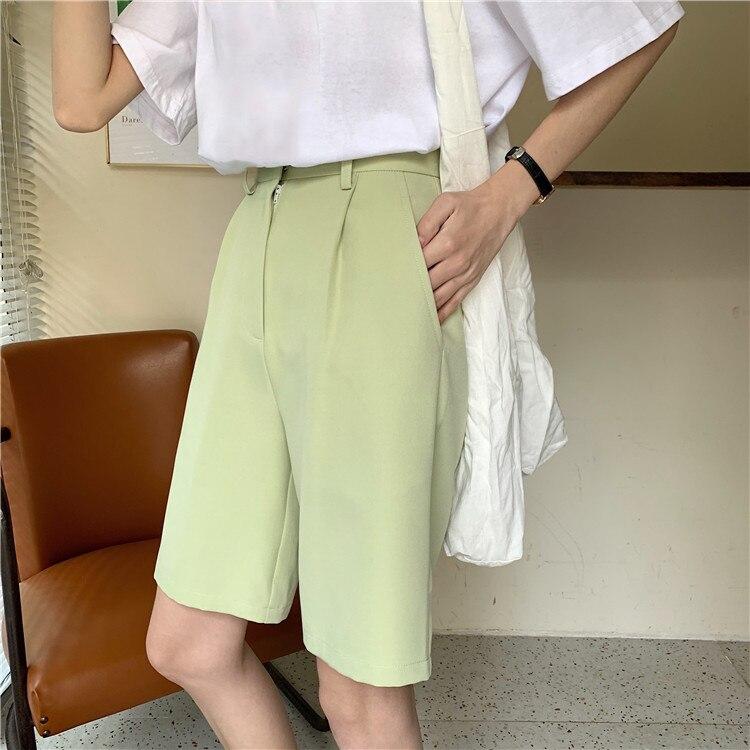 H1e8774b8dcfd47b182dbf355106f7936C - Summer High Waist Wide Leg Loose Solid Shorts