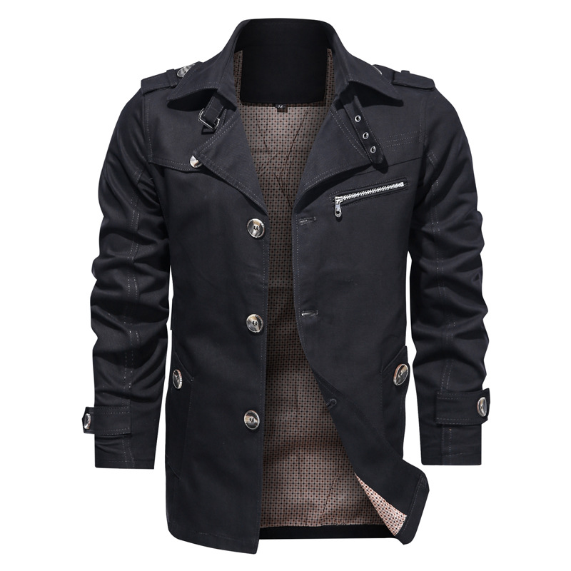 2020 Autumn New Military Jacket Men Solid Color Single Breasted Windbreaker Mens Clothing Plus Size 5XL Coat Men Dropshipping