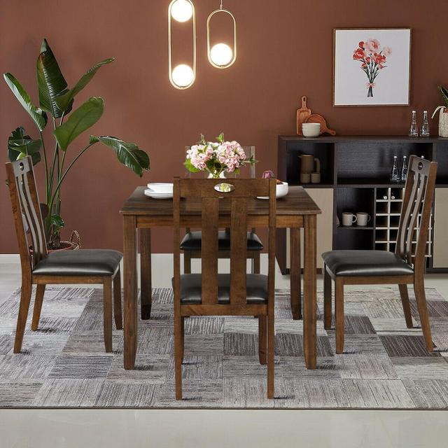 5-Piece Wood Square Dining Table Set  3
