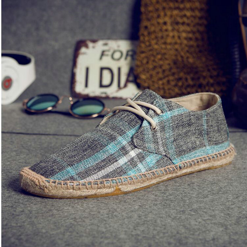 NEW Male Nationa Style Breathable Lace Up Casual Canvas Hemp Insole Fisherman Light Shoes  Men  Espadrille Flats Shoes II-13Z