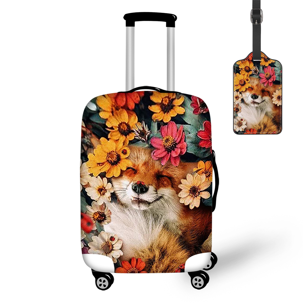 THIKIN 2020 Cute Smile Fox And Floral Travel Luggage Cover With Tag Protective Case Easy Convenient Tourism Bag 3D Full Print